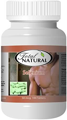 Selenium 50mcg 100 Count Tablets [1 Bottle] by Total Naturals, Safe and Natural Antioxidant Health Supplement, GMP Premium Ingredients