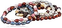 Fall Tones Freshwater Cultured Pearl Stretch Bracelet Set, Set of Seven