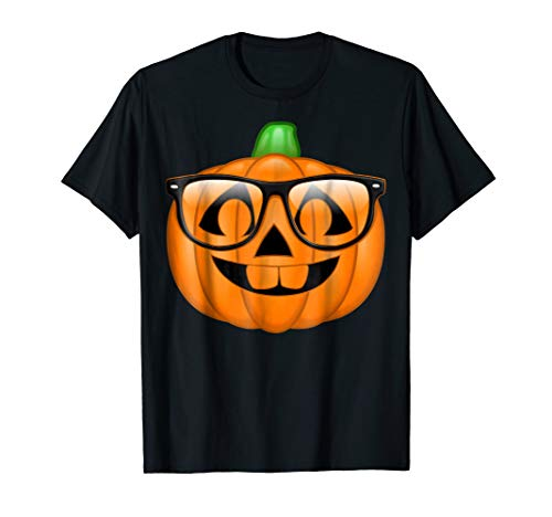 Nerdy Pumpkin Emoji Nerd Glasses Halloween -
