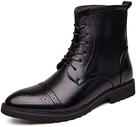 ミッドカーフブーツ男性用ハイトップドレスオックスフォードレースアップカービングPUレザー耐摩耗性丸いつま先滑り止め無地 YueB HAB (Color : ブラック, サイズ : 24.5 CM)