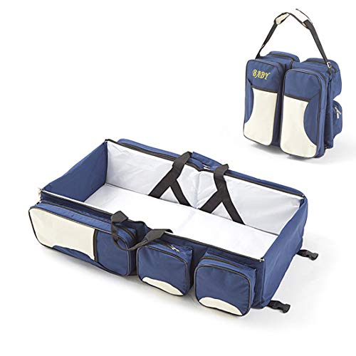 Co Universal Sleeper (MIWORM Universal 3-in-1 Multipurpose Portable Baby Changing Pad,Diaper Bag,Foldable Travel Bassinet,Baby Playpen (Navy))
