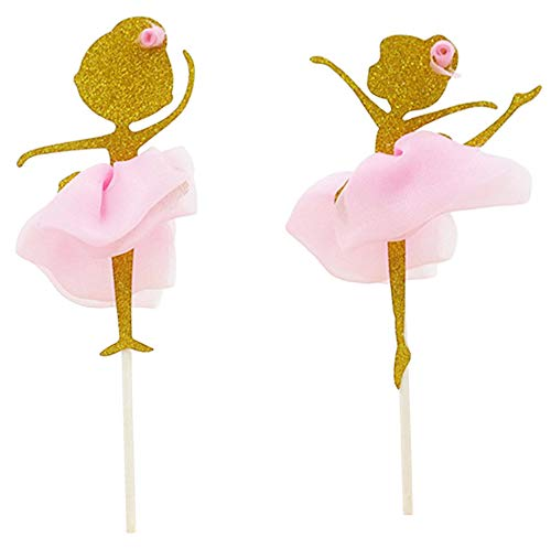 Flairs New York Happy Birthday Decorations Cake Toppers Party Props (Pack of 2 Cake Toppers, Baby Pink Ballerina Twins)]()