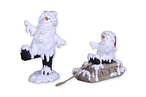 Melting Snowman and Sleigh 7.5 x 5 Resin Stone Christmas Figurine Decoration Set of 2 by Transpac Imports, Inc.