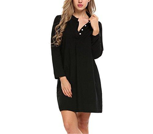 JIANGTAOLANG Solid Cotton Sleepwear Women Long Sleeve Button Down Sleepshirt Sleep Lounge Dress Black M