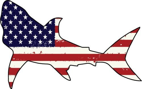 - American Flag Shark Refrigerator Bumper Magnet - Perfect Beach Vacation Gift