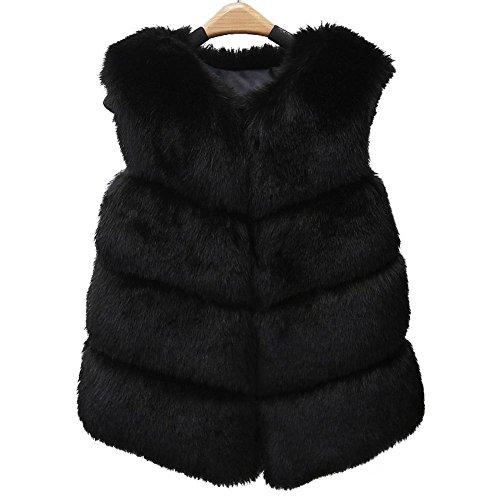 Manche Sans Akaufeng Femme Manteau Noir OwEaaXq5x