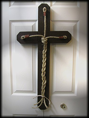 Cross rustic barn wood God's knot WEDDING ceramony of three knots Custom renewal of unity Wooden Barnwood vows Church nuptuals Rope Leather (Wedding Vows Unity Candle)