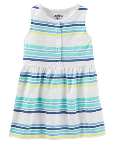 - Osh Kosh Girls' Kids Short Sleeve Knit Tunic, Blue Green Stripe, 6-6X