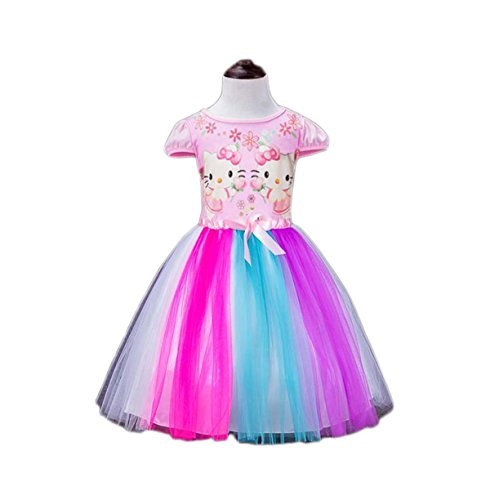 Janeyer Fancy Short Puff Sleeve Princess Mesh Bubble Lolita Shirt Dress KT (Pink) 120cm / US 4Y-5Y (Hello Kitty Wedding Dress)