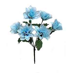Kampoojoo - Light Blue Dahlia Flowers Centerpieces Bridal Silk Wedding Bouquets (Set of 12) 11