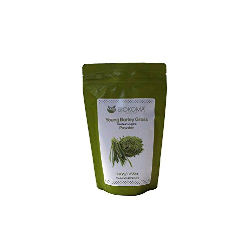 (100% Pure and Organic Biokoma Young Barley Grass Powder 100g (3.55oz) in Resealable Moisture Proof Pouch)