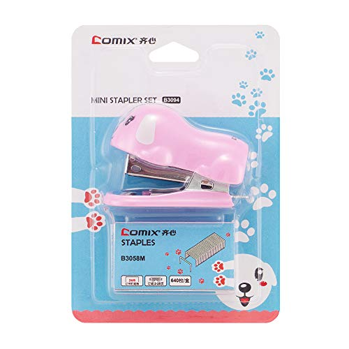 Mini Stapler, Small Desktop Stapler, 12 Sheets Capacity with 640 No.10 Staples, Mini Cute Dog Design as Best Gift for Students and Children (B3094) (Pink)