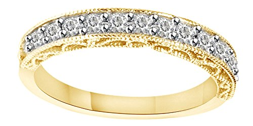 - 1/2 Cttw White Natural Diamond Vintage Antique Filigree Band Ring 14k Solid Yellow Gold (0.5 Cttw) Ring Size - 7