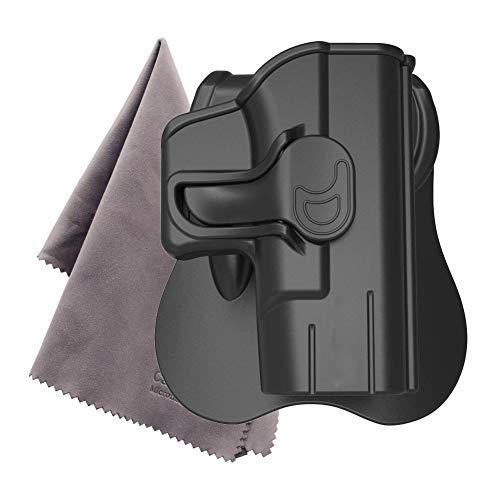 Holsters for Glock43 42 17 19 21 27 Paddle Holsters with Trigger Release Adjustable Cant Military Grade Polymer Holster 360 Degrees Rotation OWB Carry (Glock43) -Microfiber Cloth Included