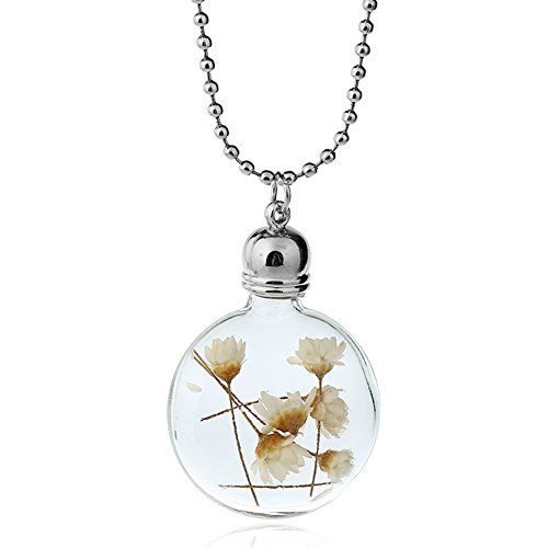 Resin Flower Necklace (Real Daisy Pressed Flower Glass Sphere Pendant Eco Resin Necklace Dried Flower Jewelry)
