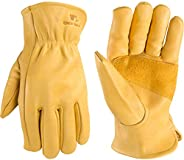 Men's Reinforced Leather Work Gloves with Palm Patch, Large (Wells Lamont 1