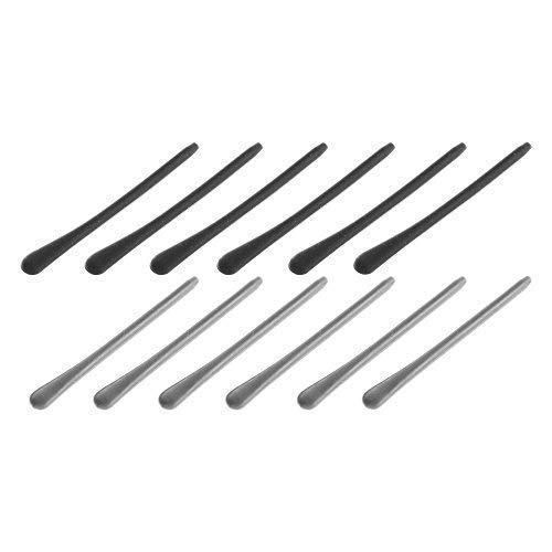 BCP 6pairs Silicone Eyeglass End Tips Ear Sock Pieces Tube Replacement for Thin Metal Eyeglass Legs (Black + ()