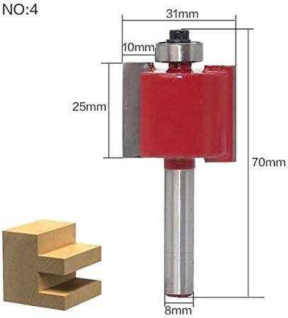 """ZZB-ZT, 1PC 8mm Schaft """"T"""" Typ Slot-Fräser Bit mit Lager Schwalbenschwanz Fräser Cutter Werkzeuge for die Holzbearbeitung (Size : NO 4)"""