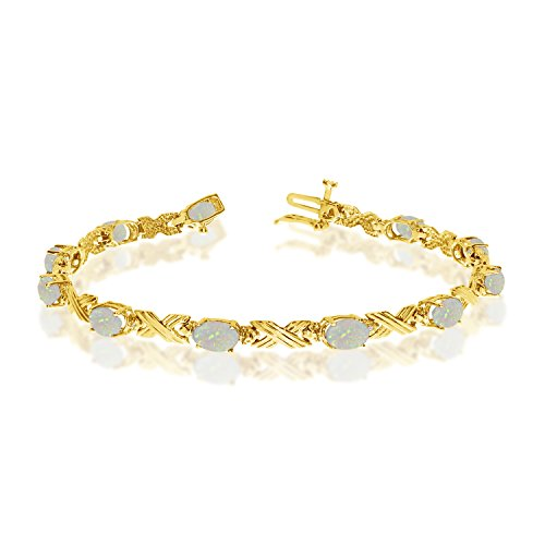2.09 Carat (ctw) 14k Yellow Gold Oval White Opal and Diamond 'X' Link Tennis Bracelet - 7