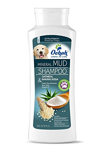 Ochah All-Natural Mineral Mud Shampoo- DEEP DEODORIZER with Oatmeal, Baking Soda, Aloe Vera, Vitamin E- Provides Your Pet Relief from Dry, Itchy Skin- 16.9oz