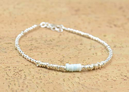 Opal and sterling silver beads bracelet
