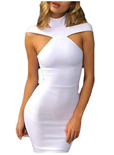 Collar Cold White Fit Openwork Line Slim Dress Shoulder Bodycon Dress Jaycargogo Womens Stand Hipsters A RxE6wnvaq