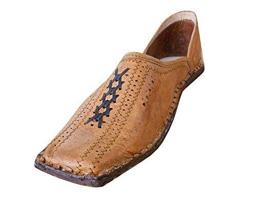 Kalra Creations Men's Traditional Leather Ethnic Shoes Camel