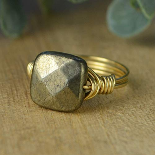 (Faceted Pyrite Square Gemstone Bead and Sterling Silver or Gold Filled Wire Wrapped Ring- Made to size)