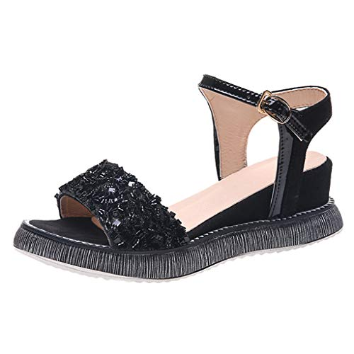 Sunhusing Female Summer Wedge with Muffin Bottom Sandals Bohemian Beach Style Casual A Word Buckle Shoes Black