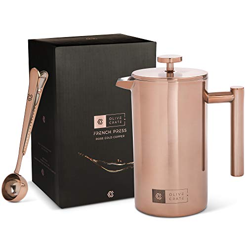 French Press Copper Coffee Maker Kit, Measuring Spoon and Clip – Portable, Manual Coffee Makers – Double-wall, Stainless Steel Pot and Brewer, Great For Travel and Outdoors, Rose Gold, 34 oz Review
