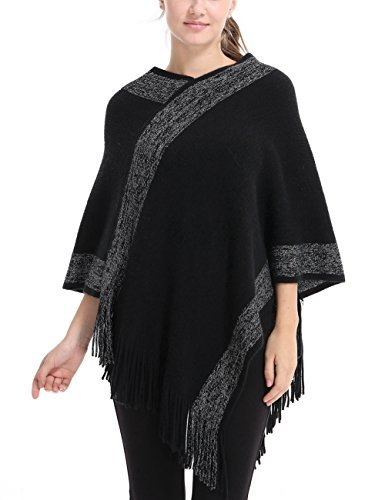 Ferand Stylish Knit Striped V Neck Pullover Poncho with Tassels for Women, One Size, Black