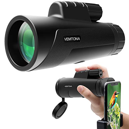 10x42 Monocular Telescope, VEMTONA HD Compact Monocular Scope with Phone Clip, Waterproof BAK4 Prism FMC Lens, Single Hand Focus for Adults/Outdoors/Bird Watching/Hunting/Camping/Travel by VEMTONA