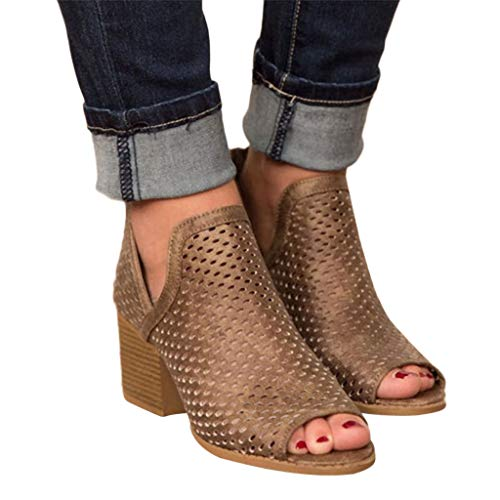 Women Sandals,Slip On Fashion Side Cut Out Peep Toe Chunky Block Low Heel Ankle Booties Brown ()