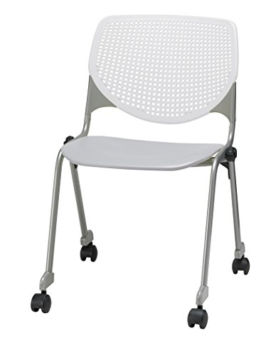 KFI Seating Poly Stack Chair with Casters & Perforated Back - White Back, Light Gray Seat