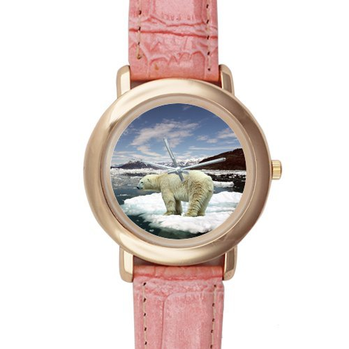 Gifts for Girls/Ladies Awesome Polar Bear Pink Leather Alloy Watch