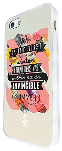 336 -Christian Quote In The Midst Of Winter I Found There Was Within Me An Invincible Summer Design iphone SE - 2016 Coque Fashion Trend Case Coque Protection Cover plastique et métal - Blanc