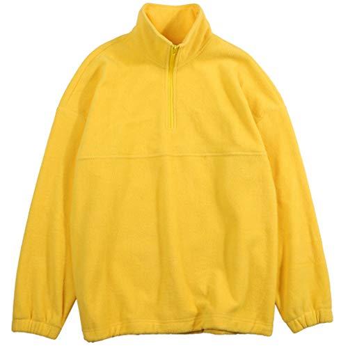 Screen Fleece Sweatshirts - Mens Sweatshirt Fleece Solid Bright Zipper Stand Collar Long Sleeve Sport Warm Outdoor Coat Outwear