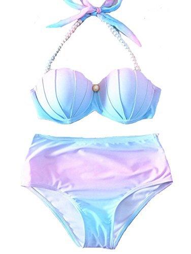 (YAOYUE-US Womens Mermaid Shell Bikini Sets Pearl Strap Halter Padded Push-up Swimsuit Beachwear (Tag L/US6-8, Light Blue))