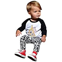 FEITONG 1 Set Infant Baby Boy's T-Shirt +Geometric Print Pants (12 Months)