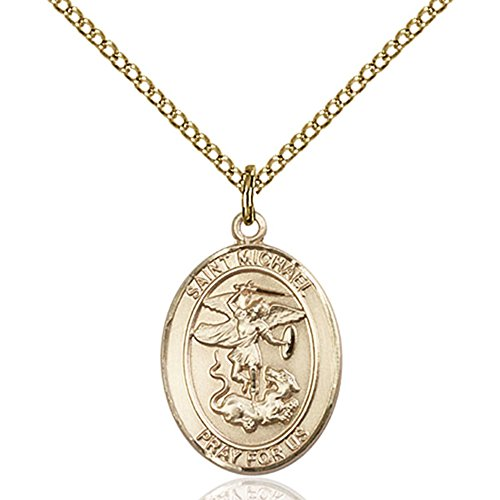 No 14kt Gold Chain Medal - Bonyak Jewelry Custom Engraved Gold Filled St. Michael/Paratrooper Pendant 3/4 x 1/2 inches with Gold-Filled Lite Curb Chain