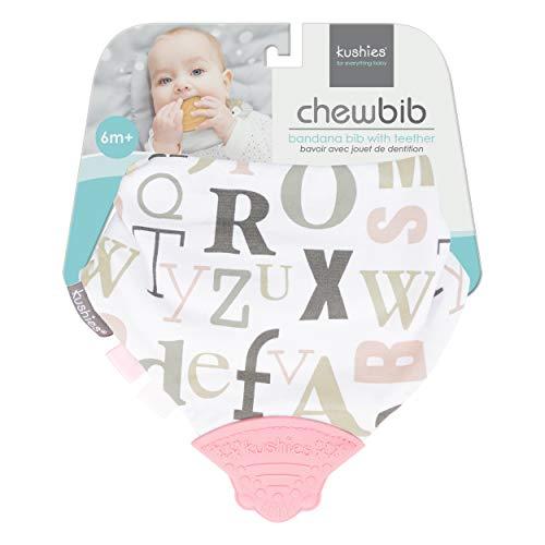 Kushies ChewBib Baby/Toddler Teething Bib with BPA Free Silicone Teether, Pink/White ABC, 6m Plus