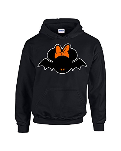 Hoodies for Women Halloween Costumes Minnie Mouse Bat Disney Pullover Hoodie Hooded Sweatshirt(Black,X-Large)