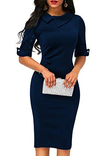 Women's Formal Dress with Pleated Detail Back Zipper 3/4 Sleeve Sheath Dress Navy Large