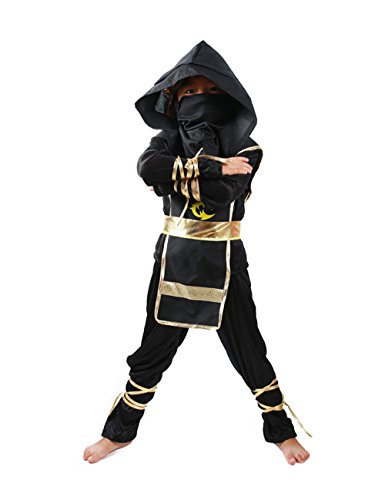 Spring Fever Child Kids Boys Stealth Ninja Assassin Costume Toys Halloween Cosplay Dress-Up Set Black M for Height(43.3