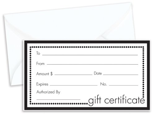 Pack of 100, Solid Black & White Gift Certificate w/White Envelopes Made In USA by Generic