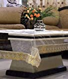 Uspech 4 Seater Table Cover with Golden Lace; Size - Approx 40x60 Inches