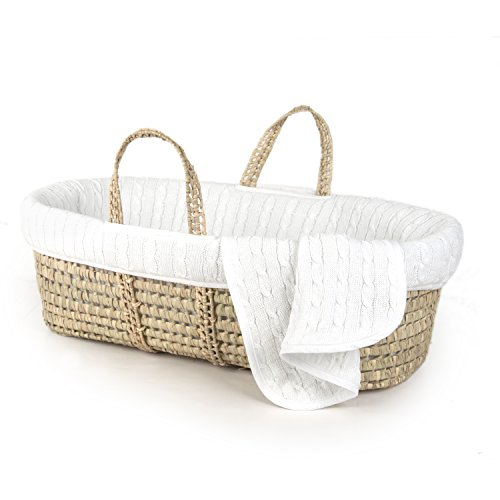 (Tadpoles Cable Knit Moses Basket and Bedding Set, White)