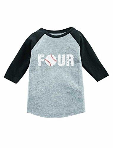 4th Birthday Gift for Baseball Lover 3/4 Sleeve Baseball Jersey Toddler Shirt 4T Dark Gray by Tstars