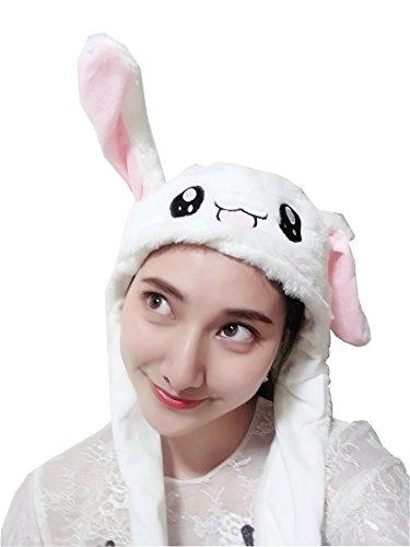 ウサギ帽子 耳が動くの女子 かわいい キャップ かぶりもの動物ハロウィン コスプレ被り物 コスチューム用小物 白うさぎ帽子肉球を押せば耳は立つ パーティー 誕生日バレンタイン クリスマス贈り物 男女兼用