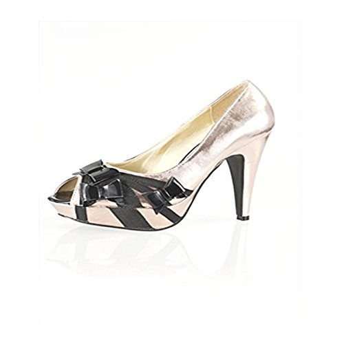 Mesdames rose Couleur Champagne Noir Bow Peep Toe Chaussures